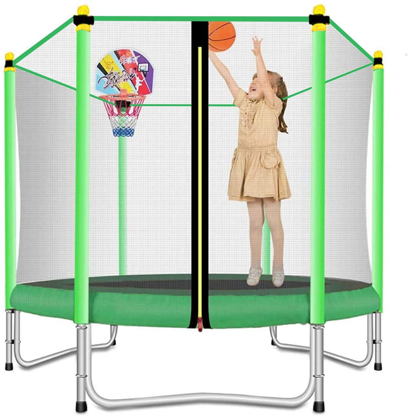 Lovely Snail Trampoline with Basketball Hoop
